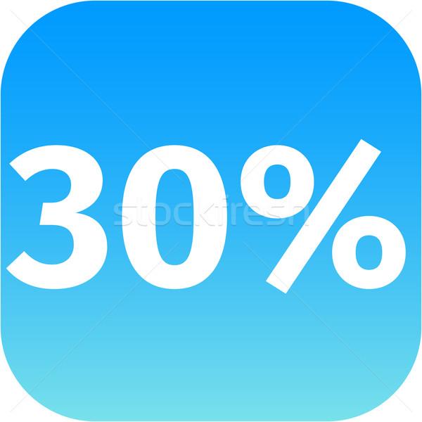 Stock fotó: 30 · százalék · ikon · kék · fehér · telefon