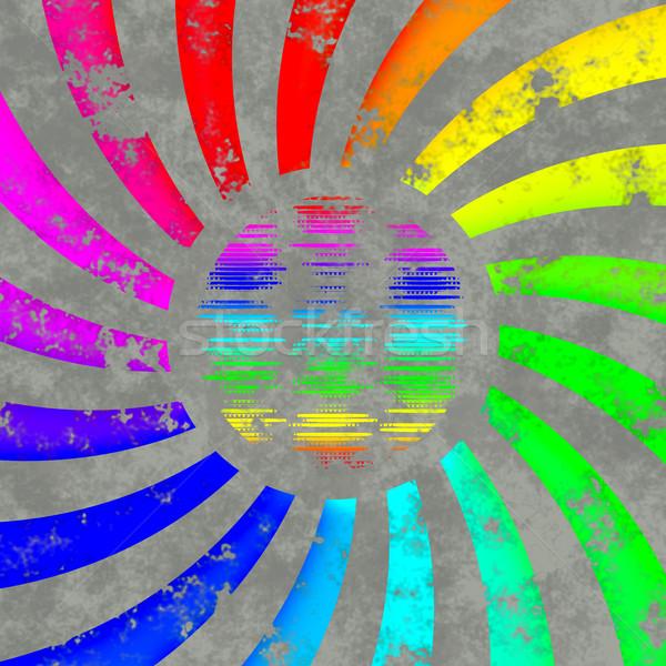 Rainbow turbinio logo sole mondo retro Foto d'archivio © jarin13