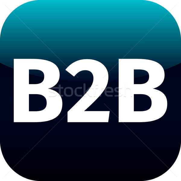 B2b синий значок компьютера белый фон знак Сток-фото © jarin13