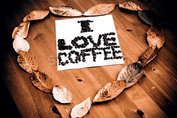 Liefde koffie hart papier textuur abstract Stockfoto © jarin13