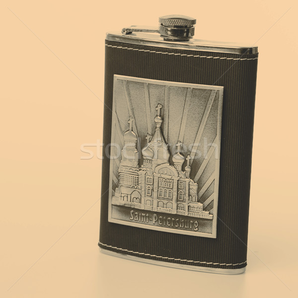 Stainless hip flask isolated on white background Stock photo © jarin13