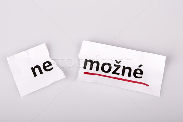 Stock photo: The word impossible changed to possible in czech