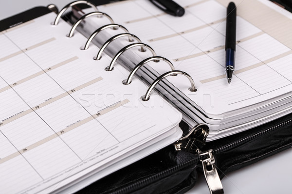 Stock photo: Personal organizer or planner with pen on white background
