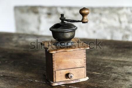Vintage manuale caffè vecchio tavolo in legno Foto d'archivio © jarin13