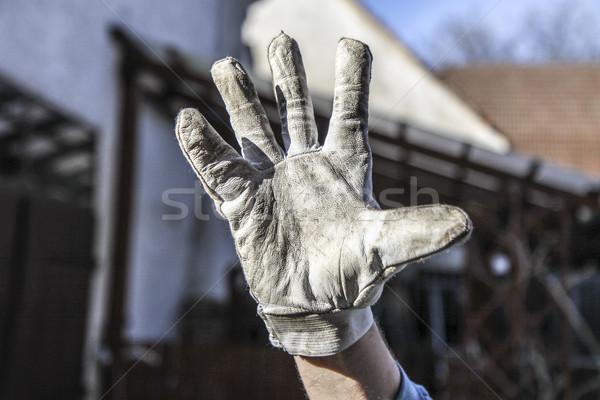 El eldiven gri kirli sağlık deri Stok fotoğraf © jarin13
