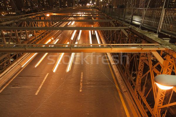 Verkeer nacht New York auto gebouw abstract Stockfoto © jarin13