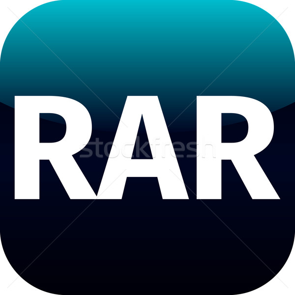Archive rar blue icon for apps Stock photo © jarin13
