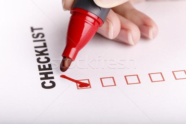 белый маркер женщину стороны чтобы сделать список Сток-фото © jarin13
