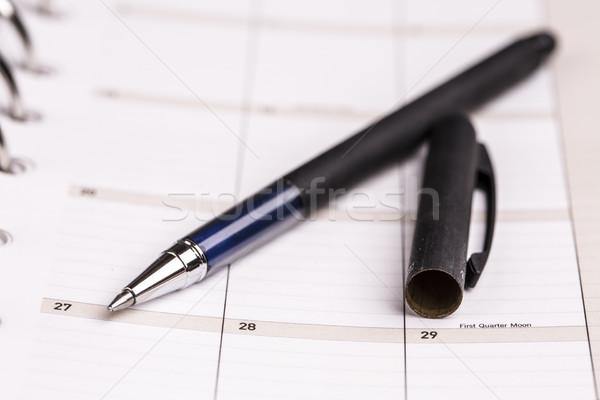 Ontwerper kalender pen planning business dagboek Stockfoto © jarin13