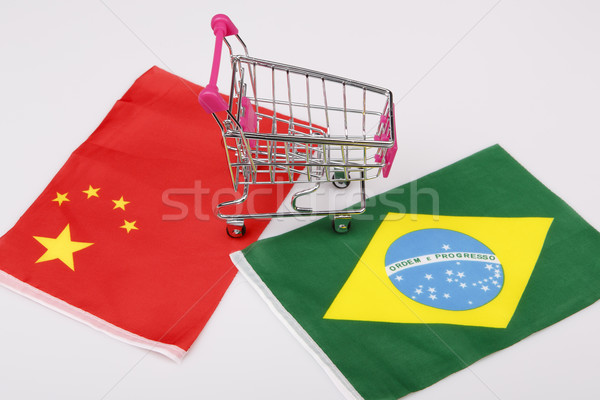 Shopping cart with Brasil and China flag Stock photo © jarin13