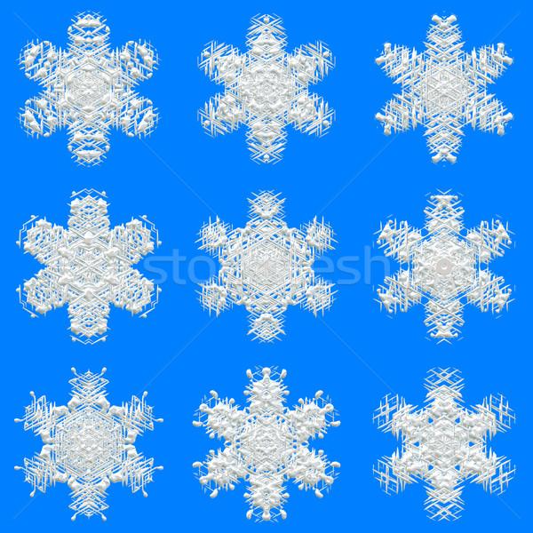 Sneeuwvlokken textuur inpakpapier mooie Blauw sneeuw Stockfoto © jarin13
