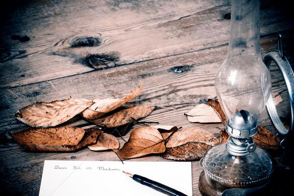 Vecchio stile lettera lampada legno pen foglia Foto d'archivio © jarin13