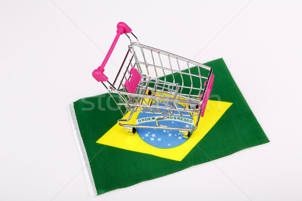 Roze winkelwagen Brazilië vlag Blauw store Stockfoto © jarin13
