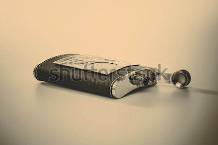 Rozsdamentes csípő flaska izolált fehér üveg Stock fotó © jarin13