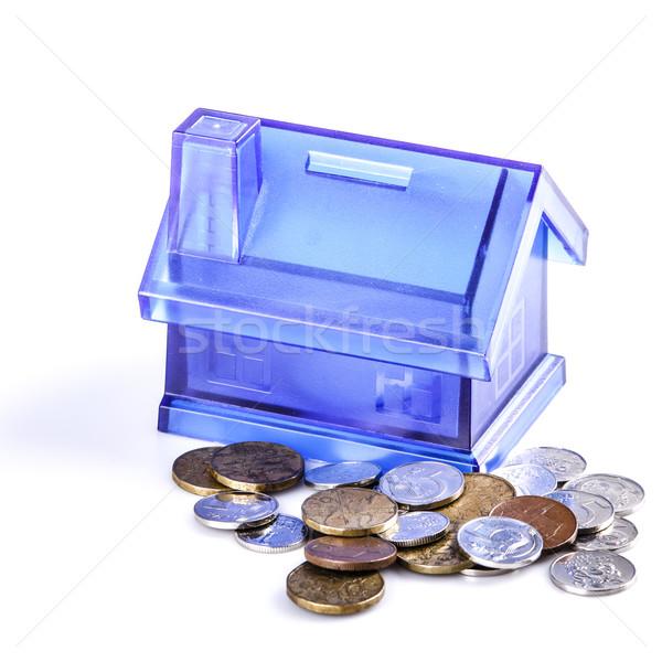 Blue House Money Box on White Background Stock photo © jarin13