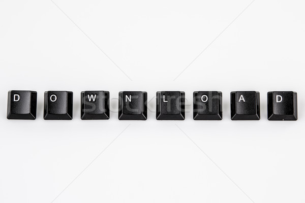 Stock photo: download word written with black computer buttons over white