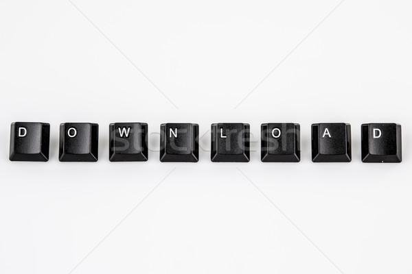 Stock fotó: Letöltés · szó · írott · fekete · számítógép · gombok