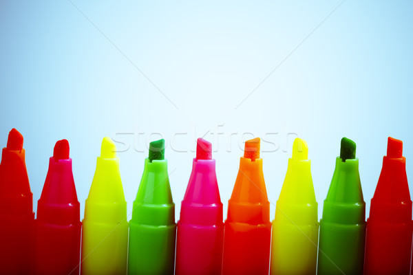 Group of felt tip bright color markers on white background Stock photo © jarin13