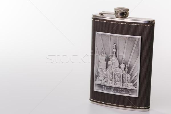 нержавеющий бедро колба изолированный белый бутылку Сток-фото © jarin13