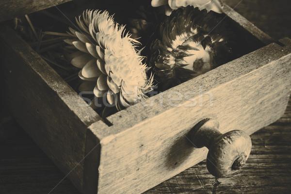 Klasszikus fából készült kávé malom daráló sárga virágok Stock fotó © jarin13
