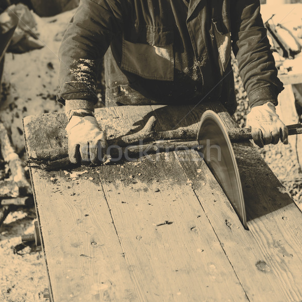 человека рабочих увидела лезвия старые Сток-фото © jarin13