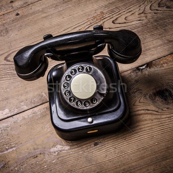 Starych czarny telefonu pyłu odizolowany Zdjęcia stock © jarin13
