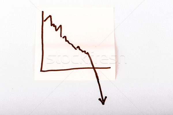 Stock photo: note paper with finance business graph going down - loss