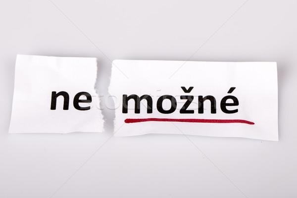 言葉 不可能 可能 チェコ語 引き裂かれた紙 白 ストックフォト © jarin13