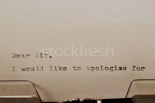 Testo vecchio macchina da scrivere lettera titolo nero Foto d'archivio © jarin13