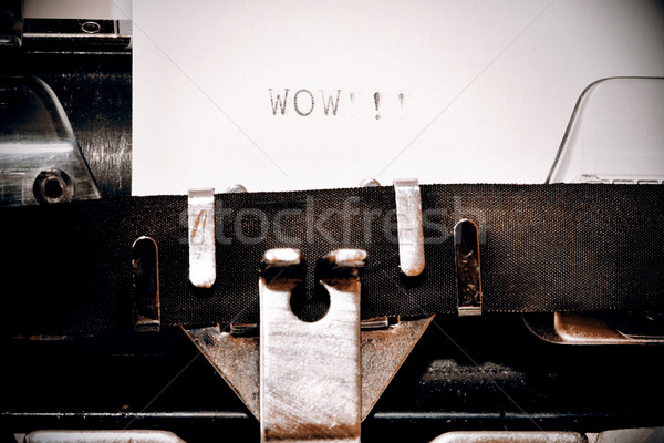 Woord wow oude schrijfmachine brief zwarte Stockfoto © jarin13
