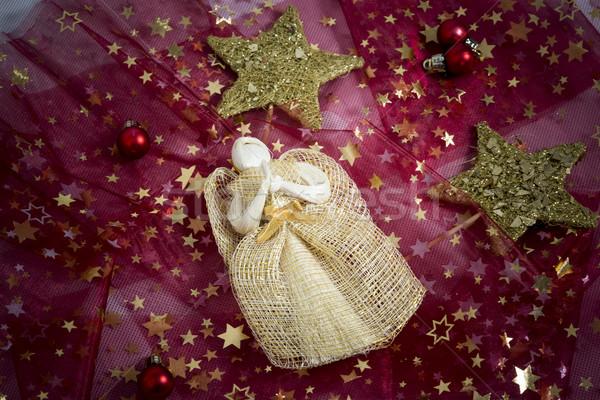 Natal decoração vermelho anjo estrelas abstrato Foto stock © jarin13
