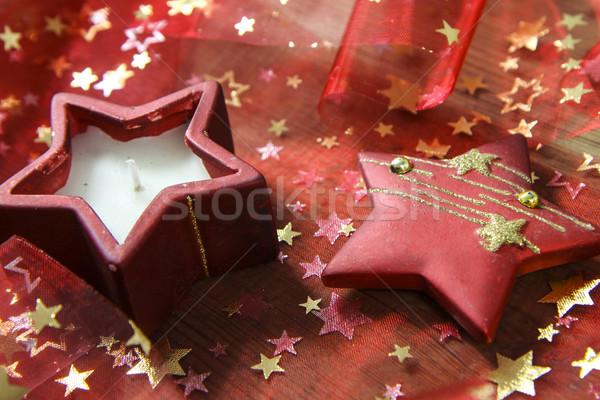 Natal decoração belo vermelho vela comida Foto stock © jarin13