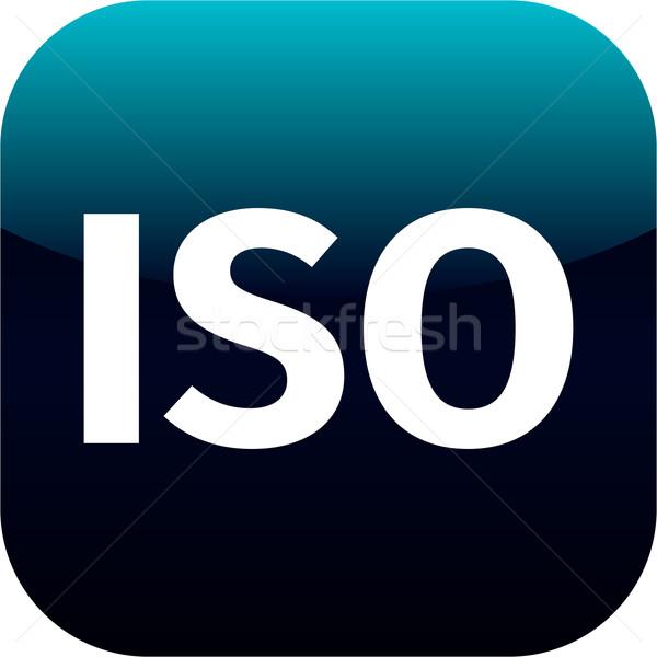Iso app icon Blauw witte tekst Stockfoto © jarin13