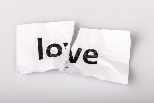 Amor palabra escrito papel rasgado blanco papel Foto stock © jarin13