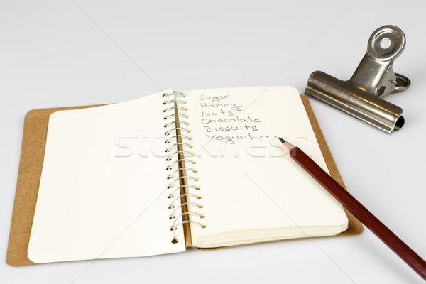 Shopping elenco diario matita bianco alimentare Foto d'archivio © jarin13