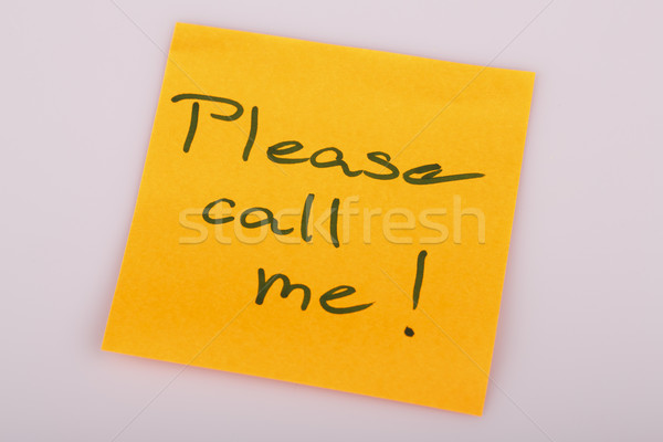 Please call me note on orange sticker note on white Stock photo © jarin13