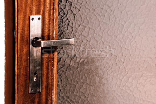 Silber Tür Griff alten Türen Holz Stock foto © jarin13