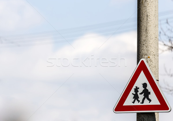 road sign with warning - protection of children near school Stock photo © jarin13