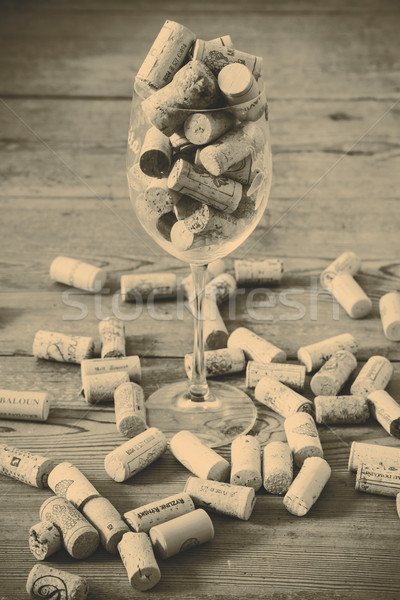 vintage cork and glass Stock photo © jarin13