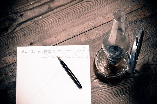 Antiquado carta caneta lâmpada negócio escritório Foto stock © jarin13