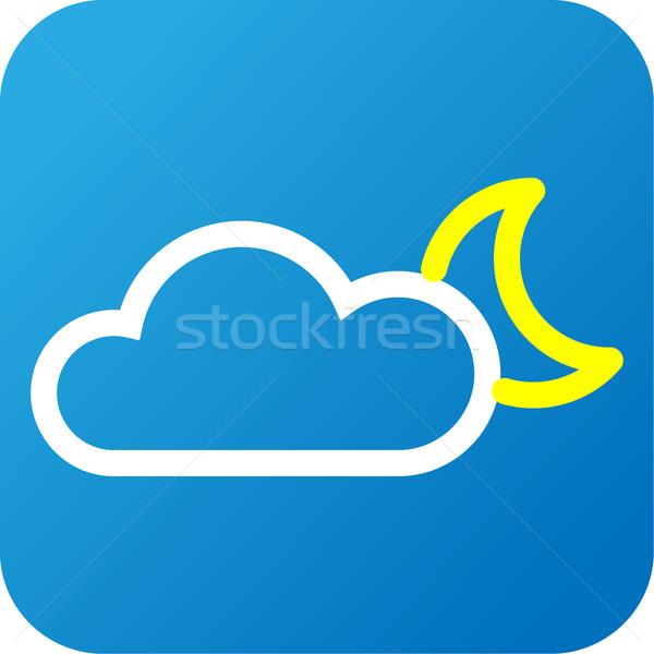 Hava durumu web simgesi bulut ay mavi beyaz Stok fotoğraf © jarin13