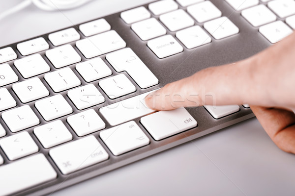 Prata teclado mulher dedo branco Foto stock © jarin13