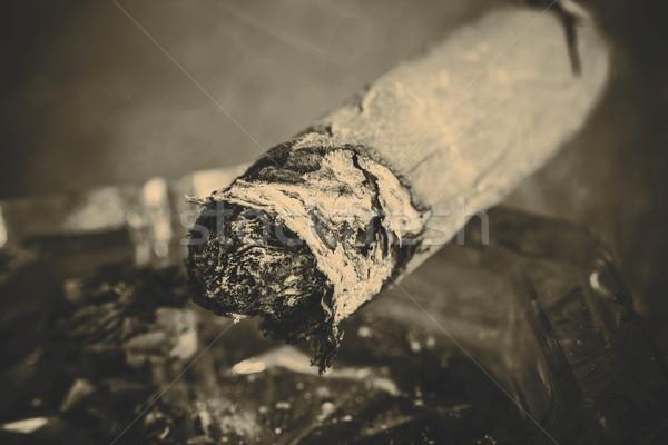 Caro cigarro mano hoja humo Foto stock © jarin13