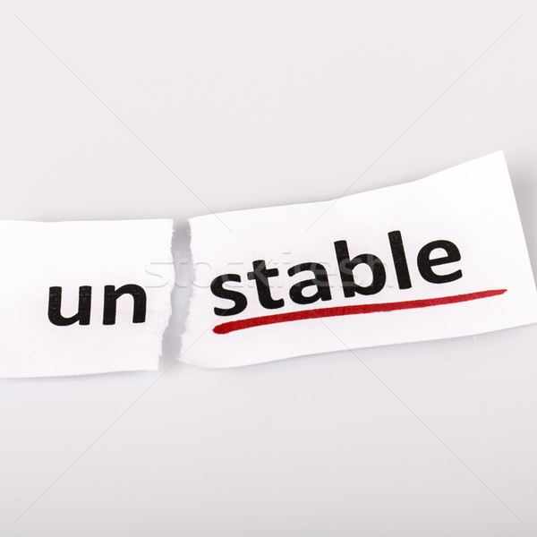 Woord wankel stabiel gescheurd papier witte papier Stockfoto © jarin13
