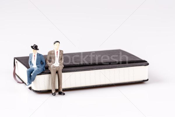 Modell férfi ül szervező tervező napló Stock fotó © jarin13