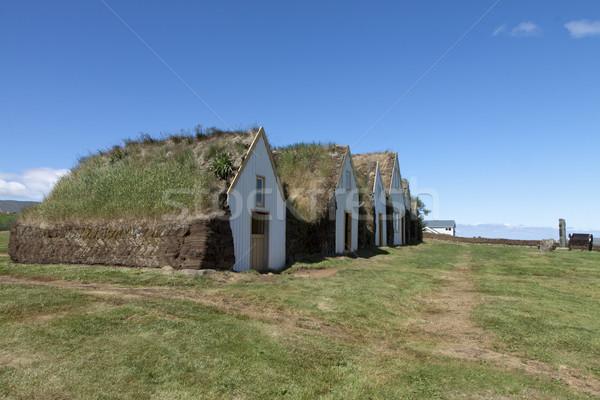 ストックフォト: 古い · 家 · 草 · 屋根 · 美しい · 木製