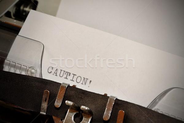 Vigyázat szöveg öreg fekete fehér papír Stock fotó © jarin13