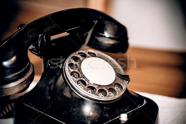 Stok fotoğraf: Eski · telefon · Retro · siyah · tablo · iş