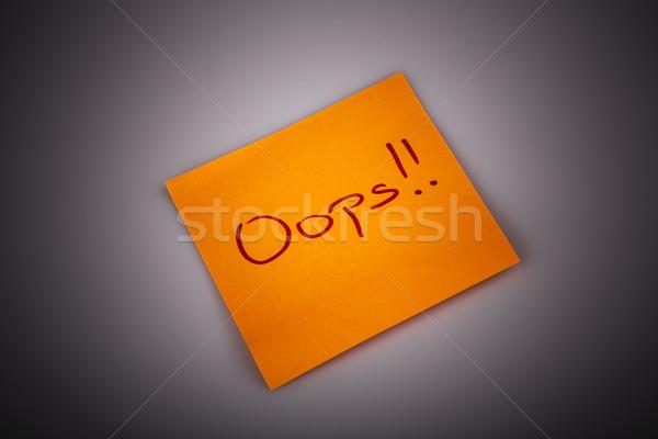 Sticky note bericht geïsoleerd witte oops tekst Stockfoto © jarin13