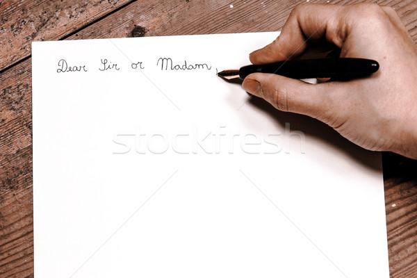 ódivatú levél toll kéz üzlet iroda Stock fotó © jarin13